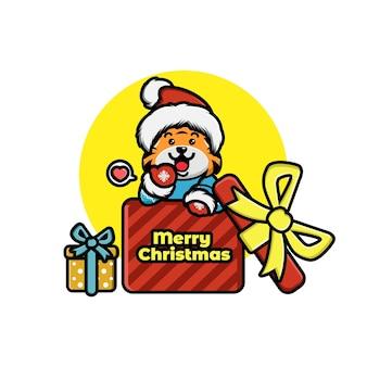 Иллюстрация милого мультяшного рождественского тигра в шляпе санта-клауса в подарочной коробке