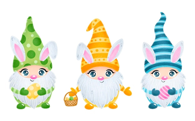 Иллюстрация милых мультяшных пасхальных гномов с кроличьими ушками