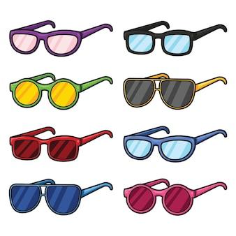 かわいい漫画のメガネセットのイラスト Premiumベクター
