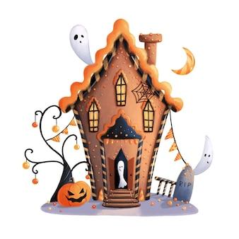 かわいい漫画のハロウィーンのジンジャーブレッドの家のイラスト。お化け屋敷。魔女の家。