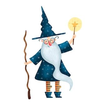 흰색 배경에 고립 된 마술 지팡이와 귀여운 만화 할로윈 오래 된 마법사의 그림