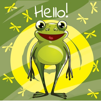 Иллюстрация милой мультяшной счастливой забавной лягушки. привет, поздравительная открытка
