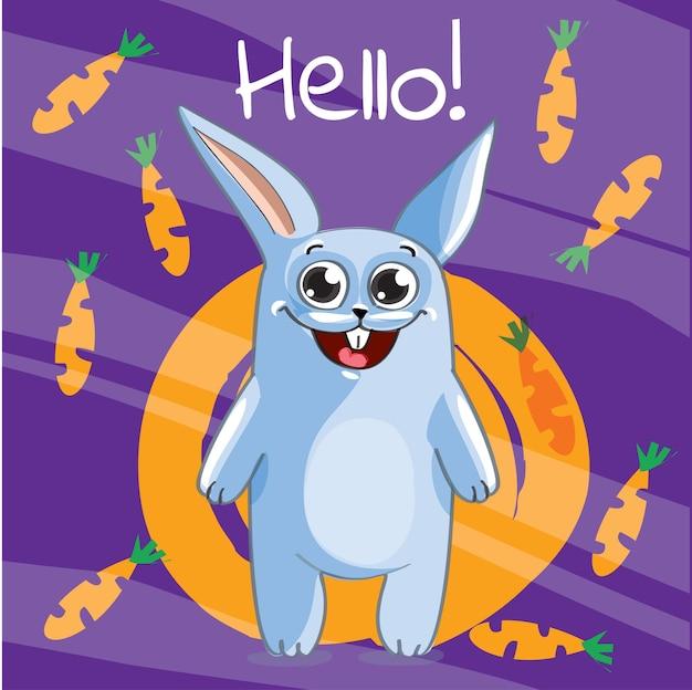 Иллюстрация милый мультфильм счастливый кролик. привет, поздравительная открытка
