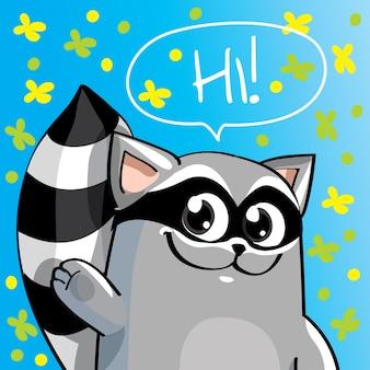 Иллюстрация милый мультфильм счастливый енот. привет, поздравительная открытка