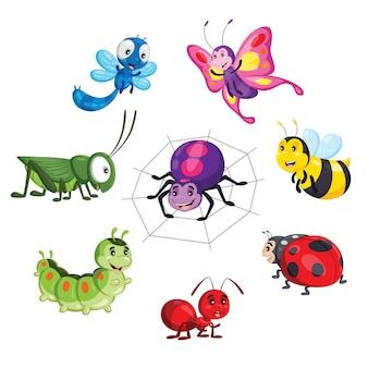 Иллюстрация милый мультяшный набор насекомых