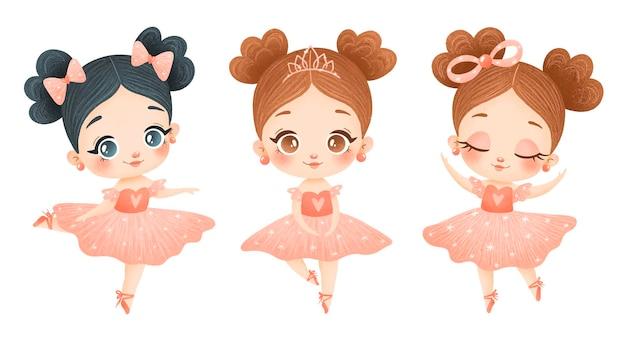 Иллюстрация милых мультяшных маленьких балерин в розовом платье. балетные позы изолированы
