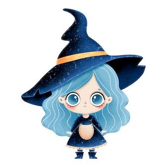 파란 머리를 가진 귀여운 만화 작은 마녀의 그림