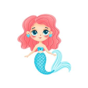 白い背景で隔離のピンクの髪のかわいい漫画人魚のイラスト