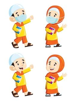 Иллюстрация милый мультфильм мусульманских детей, идущих к корану Premium векторы