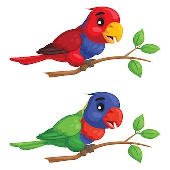 귀여운 만화 앵무새의 그림