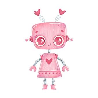 귀여운 만화 핑크 로봇 소녀의 그림 흰색 절연