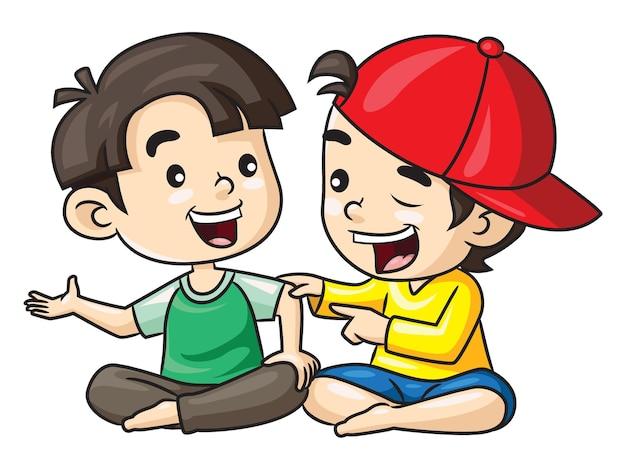 농담하는 귀여운 만화 두 아이의 그림