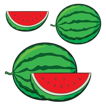 귀여운 만화 수박 세트의 그림