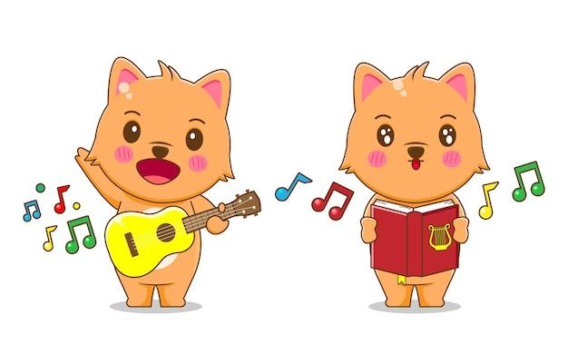 Иллюстрация милый кот поет и играет на гитаре