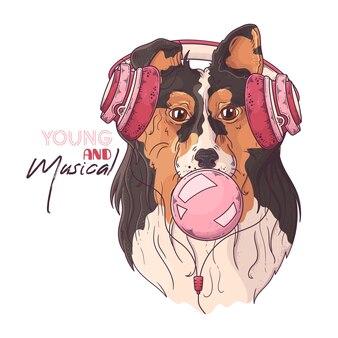 ミュージカルヘッドホンでかわいいコリー犬のイラストは、ガムの泡を膨らませます。