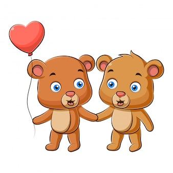 테디 베어의 귀여운 커플의 그림