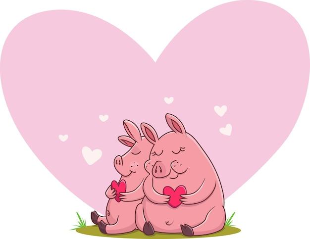 Иллюстрация милая пара свиней в любви
