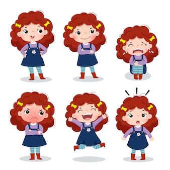 Иллюстрация милой девушки с вьющимися рыжими волосами, показывающей разные эмоции