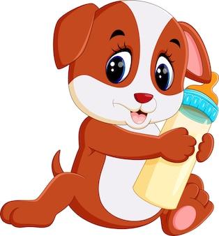 우유 병을 들고 귀여운 강아지의 그림