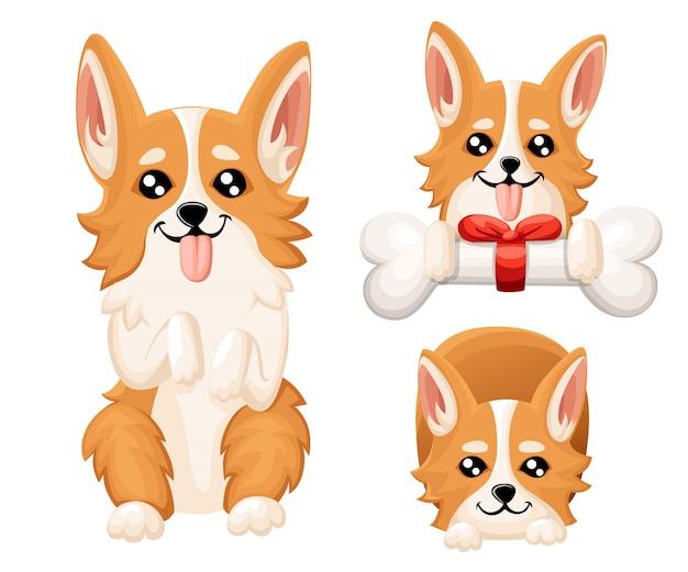 かわいい犬ウェールズコーギーのイラスト。グリーティングカード、ペットショップ、獣医クリニックの素敵な子犬。犬のウェールズコーギー立ちwebサイトページとモバイルアプリ要素