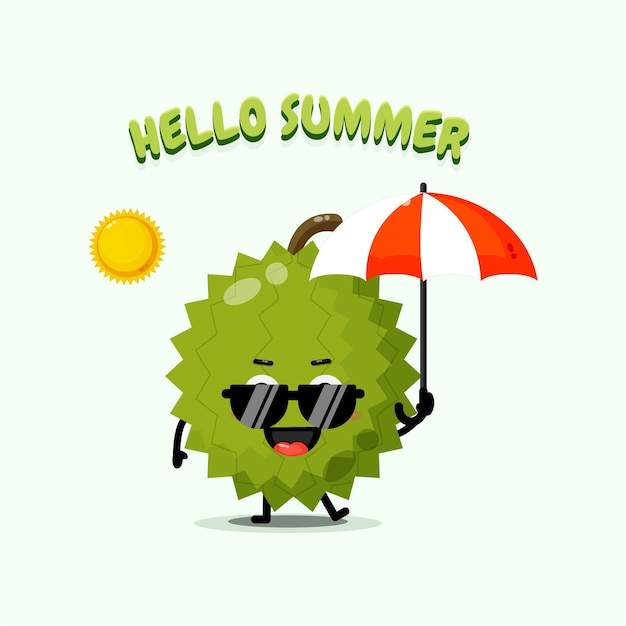 夏の挨拶と傘を運ぶかわいいドリアンのマスコットのイラスト