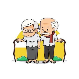 귀여운 노인 커플 캐릭터의 일러스트 .. 행복 한 조부모의 날 ..