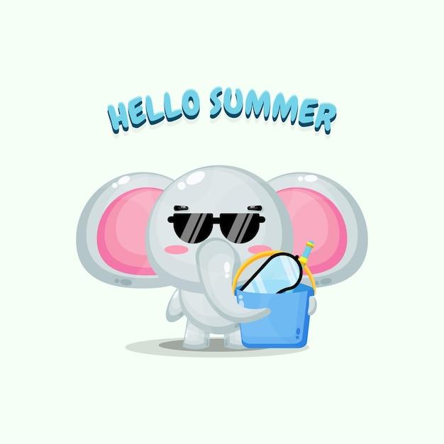 夏の挨拶でバケツを運ぶかわいい象のマスコットのイラスト