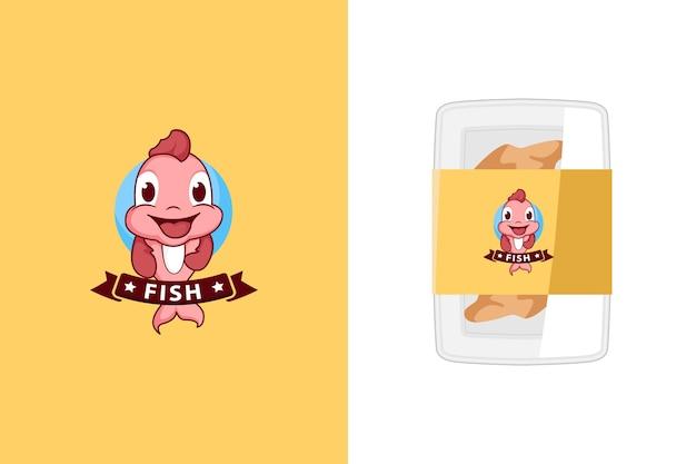 Иллюстрация симпатичного логотипа талисмана рыбы для рыбных продуктов или магазина морепродуктов
