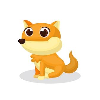 かわいいスタイルのかわいい狐キャラクターのイラスト