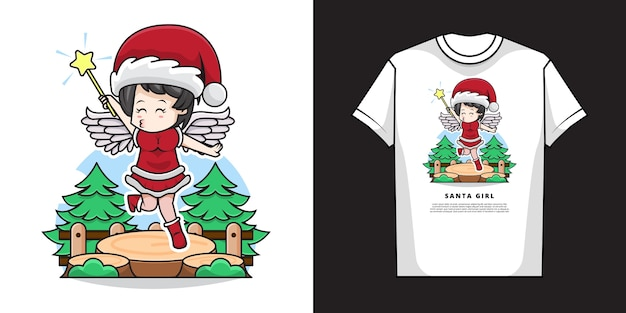 Tシャツデザインのサンタクロースと天使の衣装を着てかわいい女の子のイラスト