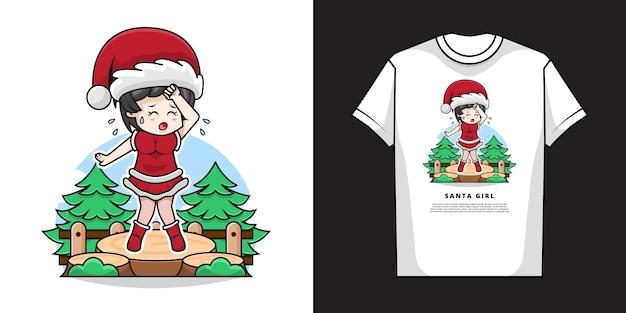疲れたジェスチャーとtシャツのデザインでサンタクロースの衣装を着てかわいい女の子のイラスト