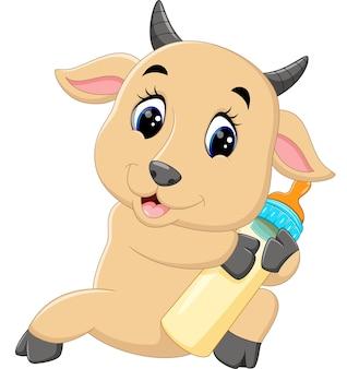 Иллюстрация милый козел, держащий молочную бутылку