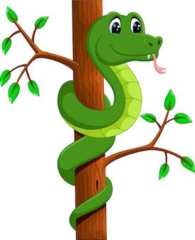 かわいい緑のヘビの漫画のイラスト