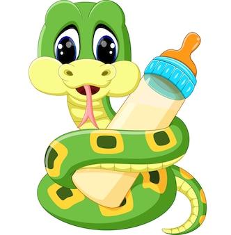 ミルクボトルを持っているかわいい緑のヘビのイラスト