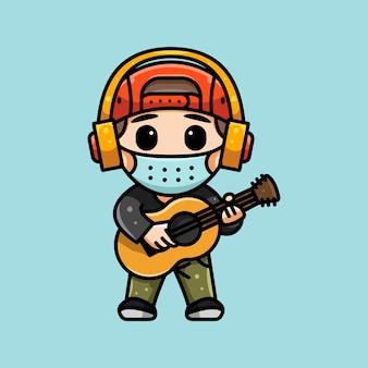 마스크와 헤드폰을 쓴 귀여운 기타리스트의 그림