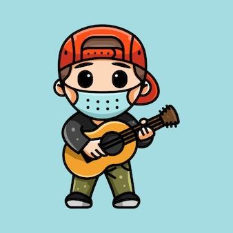 마스크를 쓴 귀여운 기타리스트의 그림