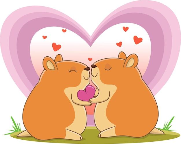 사랑에 귀여운 햄스터 커플의 그림