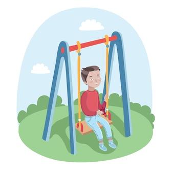 公園のブランコにかわいい幸せな男の子のイラスト