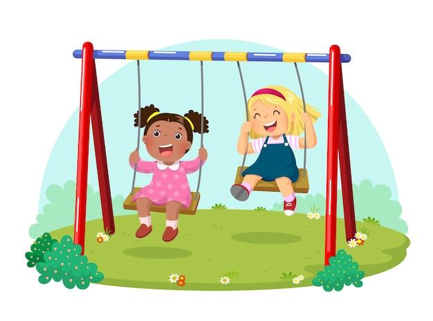 遊び場でブランコを楽しんでいるかわいい子供たちのイラスト