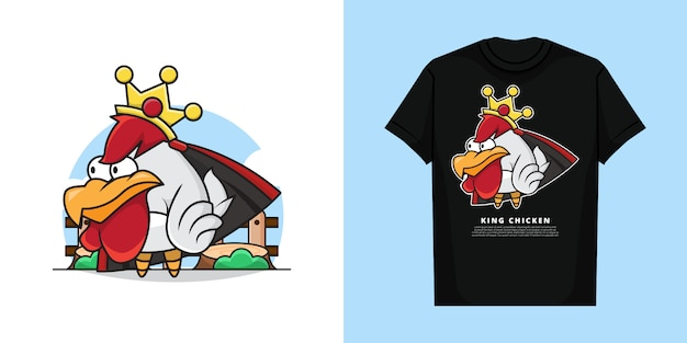 Иллюстрация милого королевского цыпленка с короной на голове с дизайном макета футболки