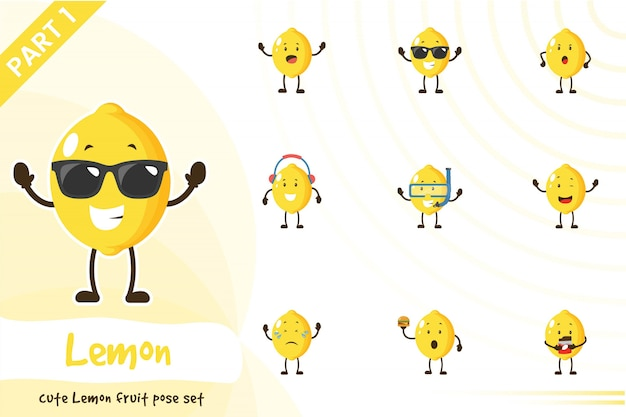 귀여운 레몬 과일 세트의 그림