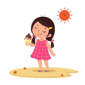 그녀의 아이스크림에 행복 느낌 귀여운 소녀의 그림.