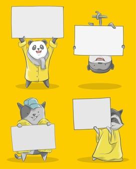かわいいパンダと小さな猿と小さな猫のイラスト