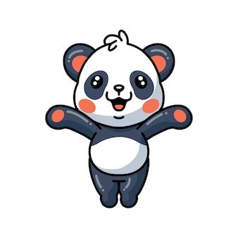 Иллюстрация милой маленькой панды мультфильм поднимая руки