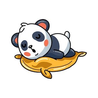 Иллюстрация милая маленькая панда мультфильм спит