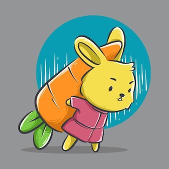 大きなニンジンの漫画を運ぶかわいいウサギのイラスト