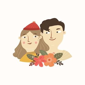 Иллюстрация милого дизайна лица милой влюбленной пары