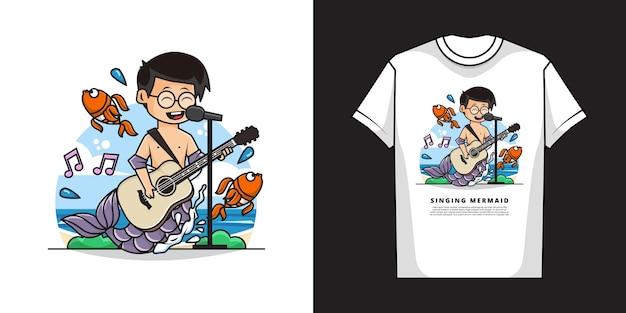 ギターを弾きながら歌っているかわいい人魚の少年キャラクターのイラスト