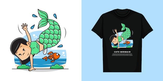 Иллюстрация милой русалочки с дизайном макета футболки