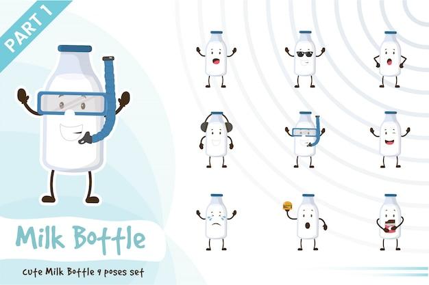 Иллюстрация милого набора бутылок молока